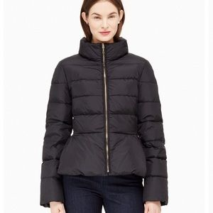 Kate Spade Puffer Peplum Mock Neck Jacket
